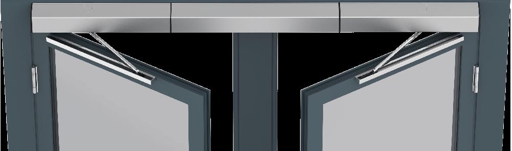 Visning af døråbnere monteret på en dobbeltdør